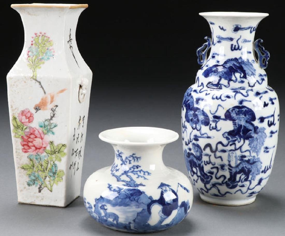 3 PC CHINESE HAND PAINTED PORCELAIN