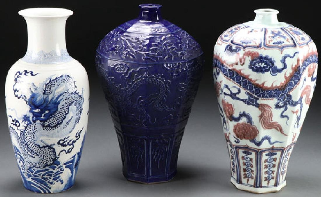 A GROUP OF THREE CHINESE PORCELAIN FLOOR VASES