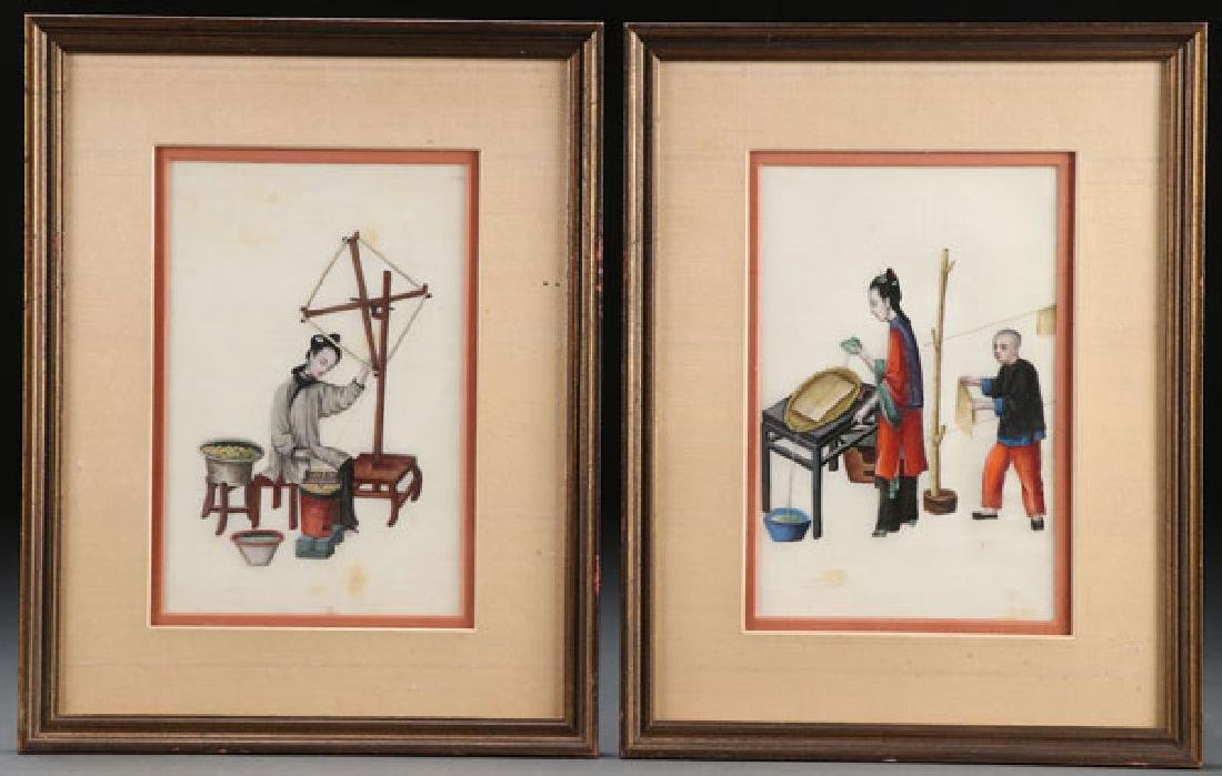 A PAIR OF PAINTINGS, CHINESE SCHOOL, 19TH CENTURY
