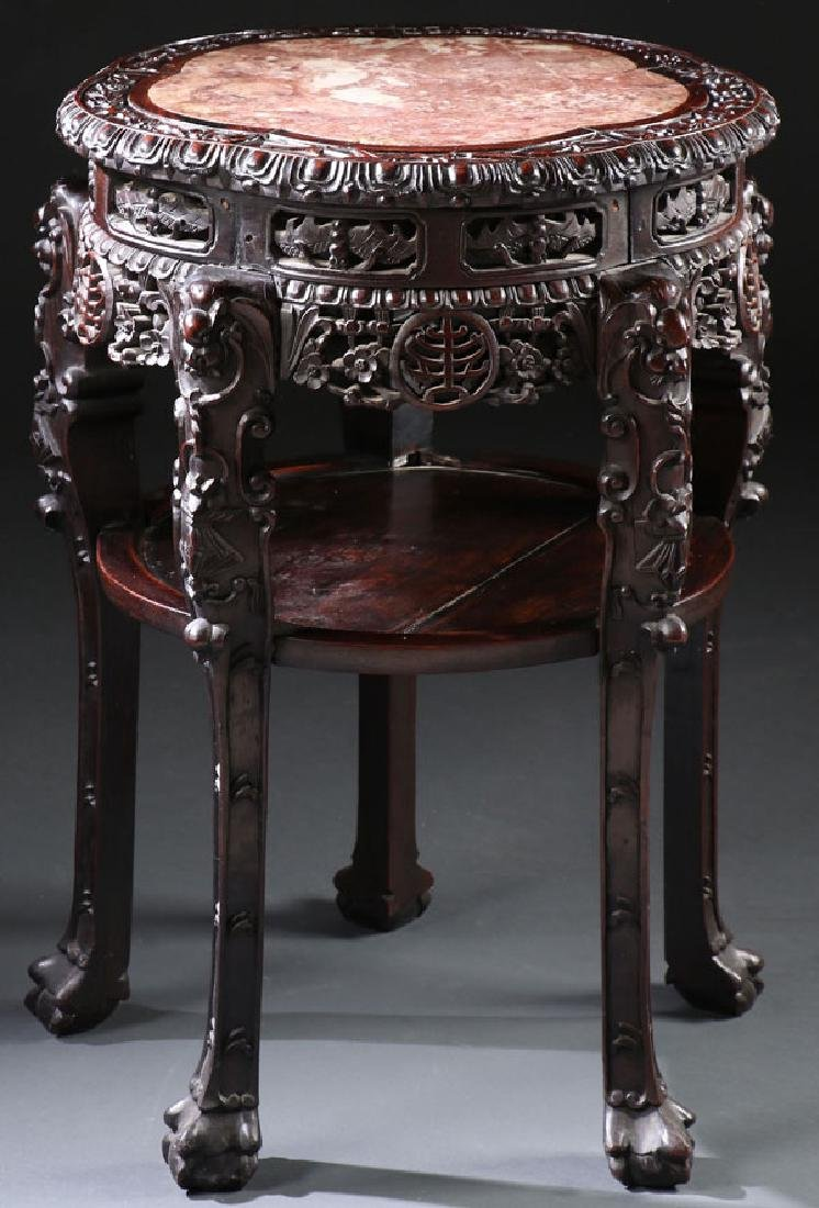 CHINESE EXPORT CARVED WOOD AND MARBLE TABLE