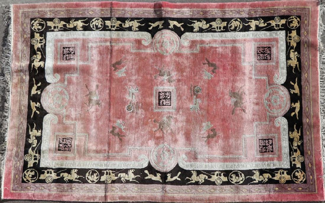 A CHINESE PICTORIAL HAND WOVEN PEKING RUG