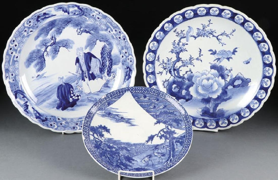 THREE JAPANESE ARITA WARE CHARGERS, EARLY 20TH C