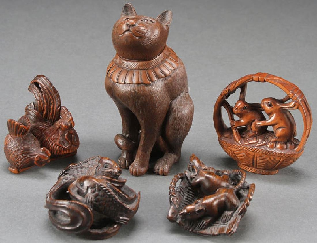 A FIVE PIECE GROUP OF JAPANESE OKIMONOS, 20TH C