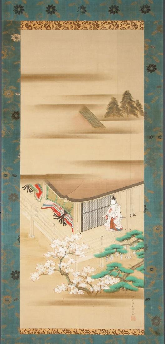 A PAIR OF JAPANESE HAND PAINTED SCROLLS - 3