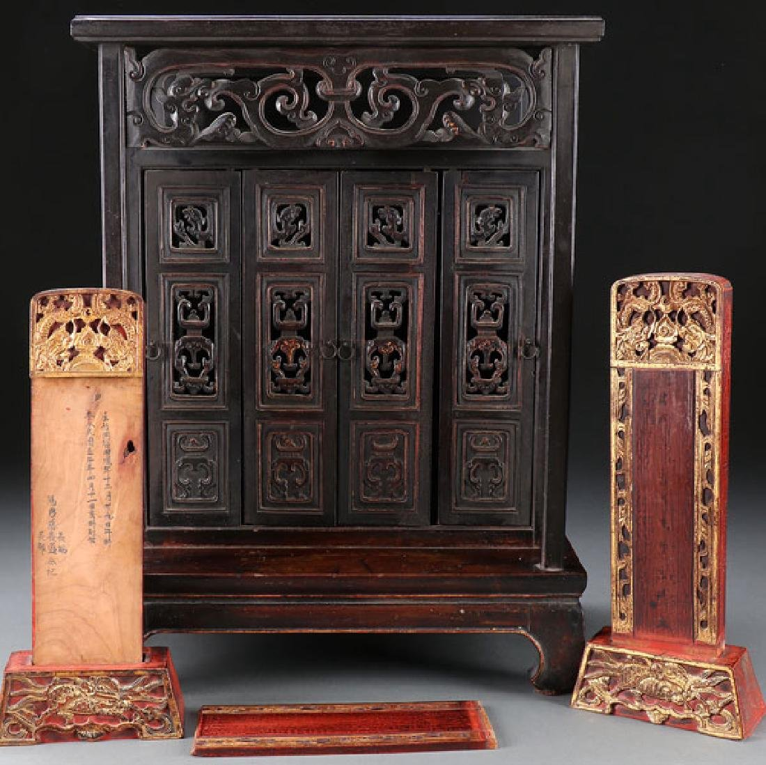 A JAPANESE CARVED WOOD TABLE SHRINE, MEIJI PERIOD
