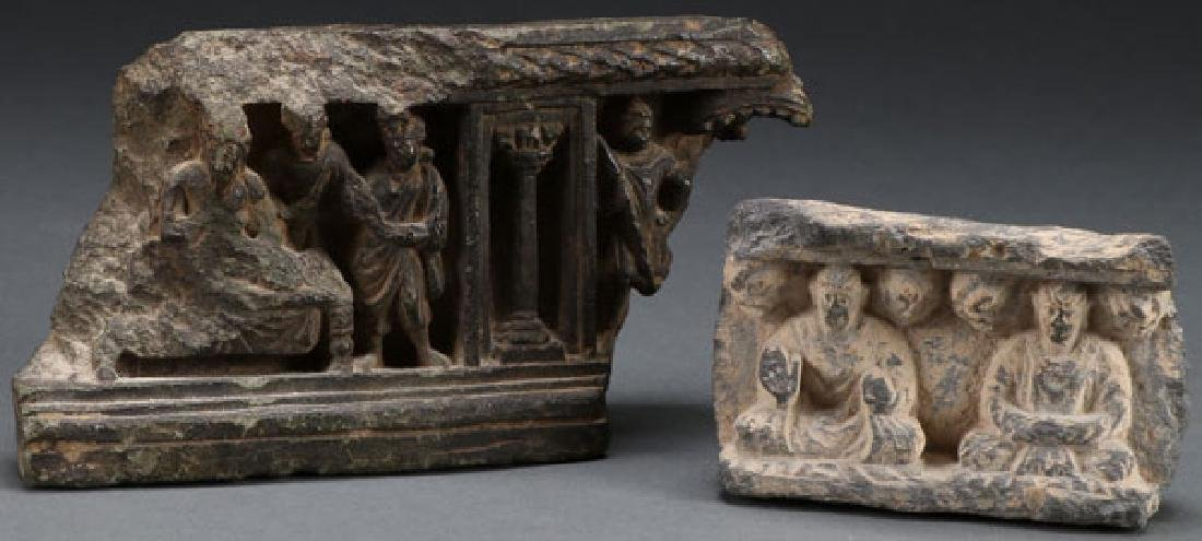 A PAIR OF INDO-PERSIAN CARVED STONE STELES