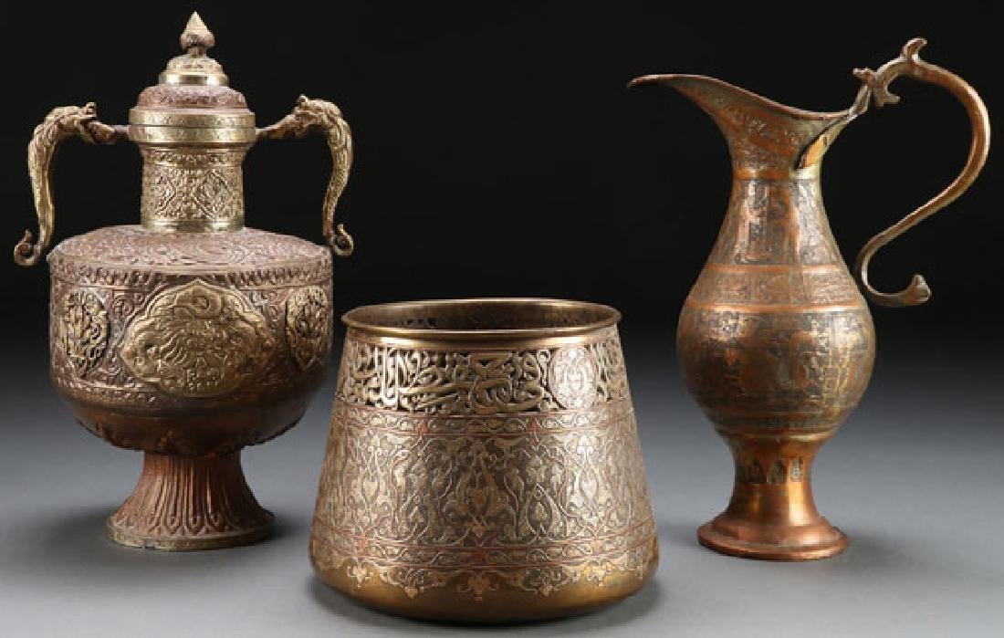 3 INDO-PERSIAN BRASS AND COPPER VESSELS