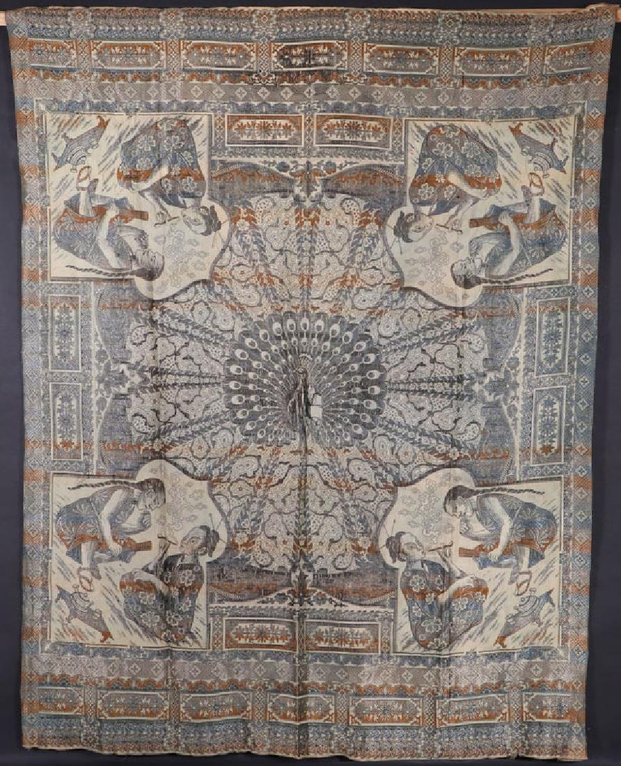 A CHINOISERIE TAPESTRY WOVEN SILK COVERLET