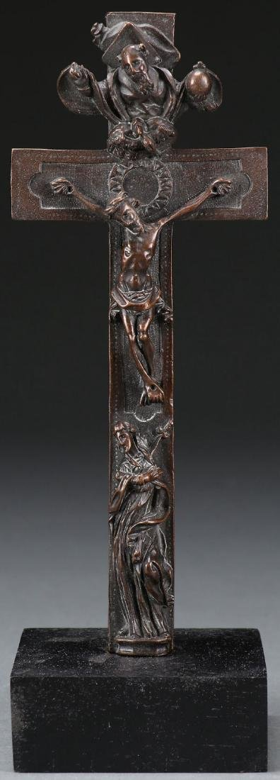 A CAST BRONZE ALTAR CRUCIFIX