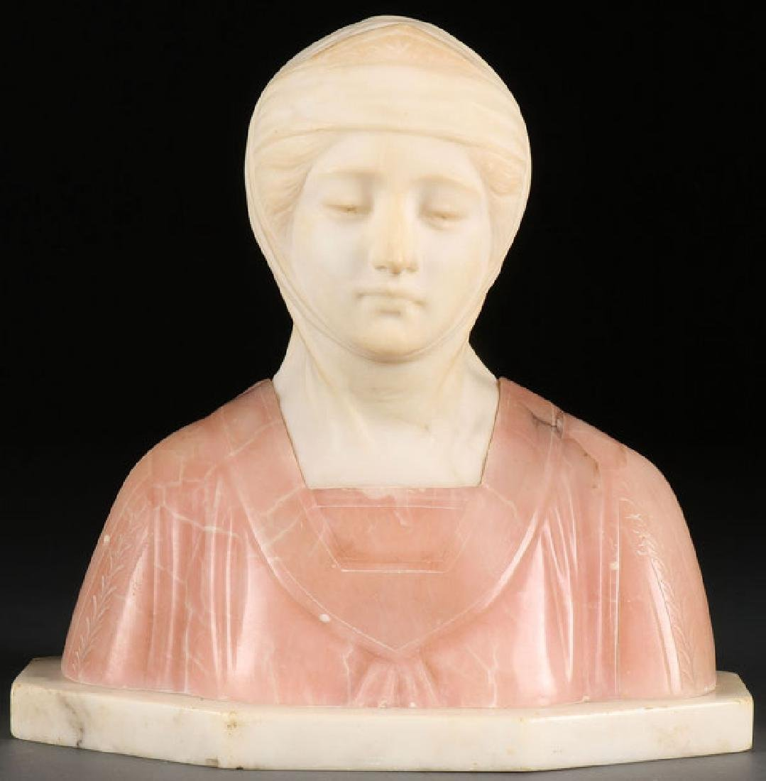 A CARVED VARICOLORED ALABASTER BUST OF BEATRICE