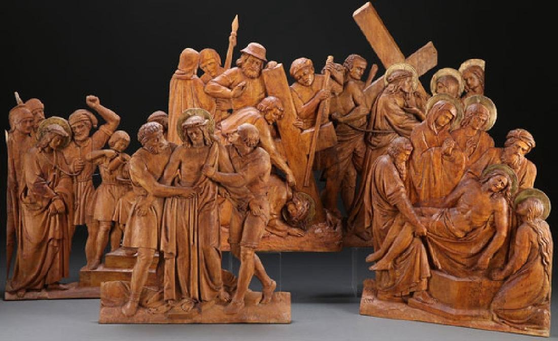5 RELIEF CARVED WOOD PANELS OF THE PASSION