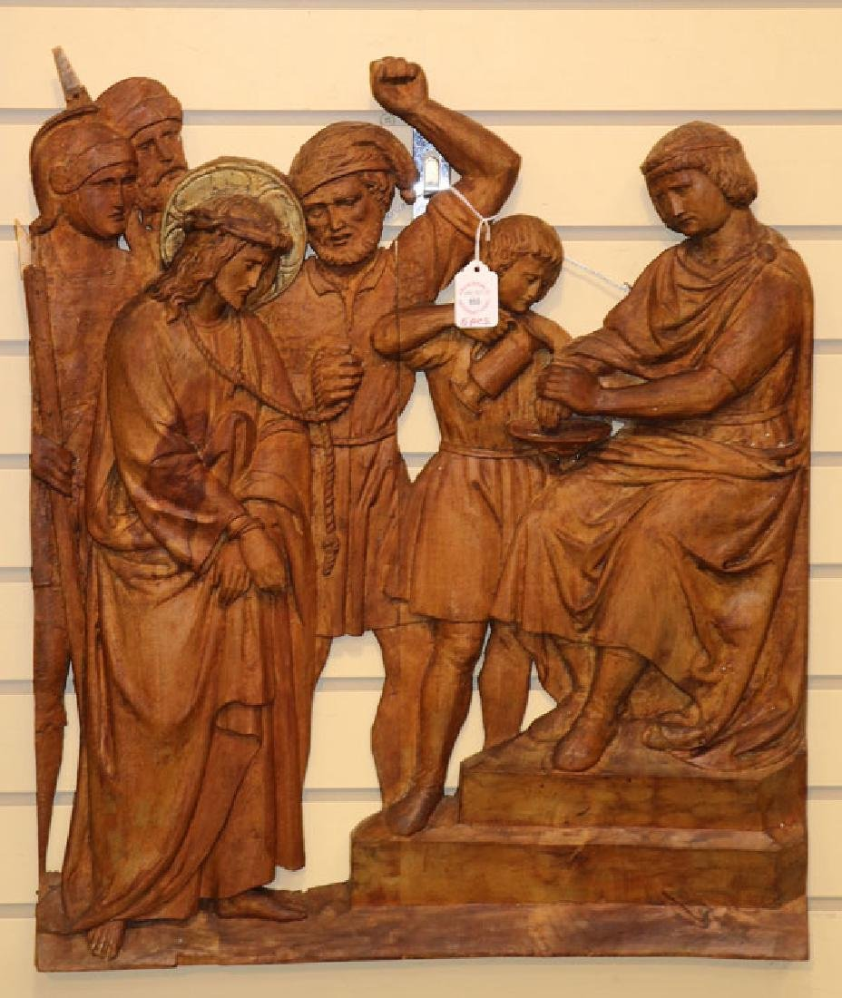 5 RELIEF CARVED WOOD PANELS OF THE PASSION - 2