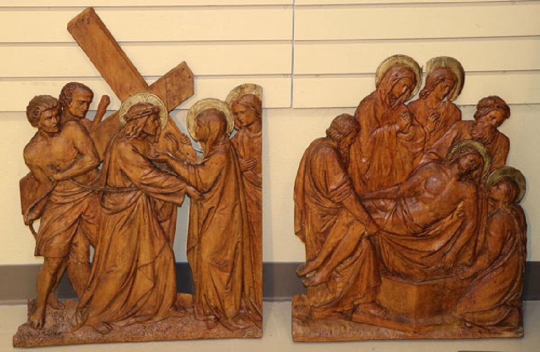 5 RELIEF CARVED WOOD PANELS OF THE PASSION - 3