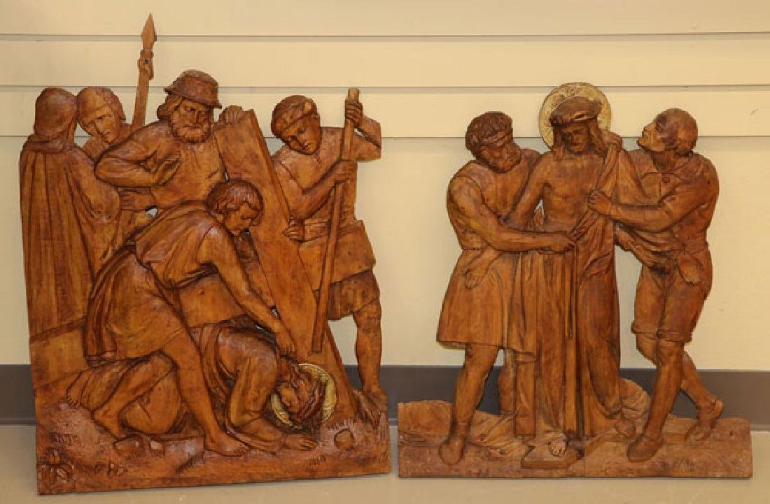 5 RELIEF CARVED WOOD PANELS OF THE PASSION - 4