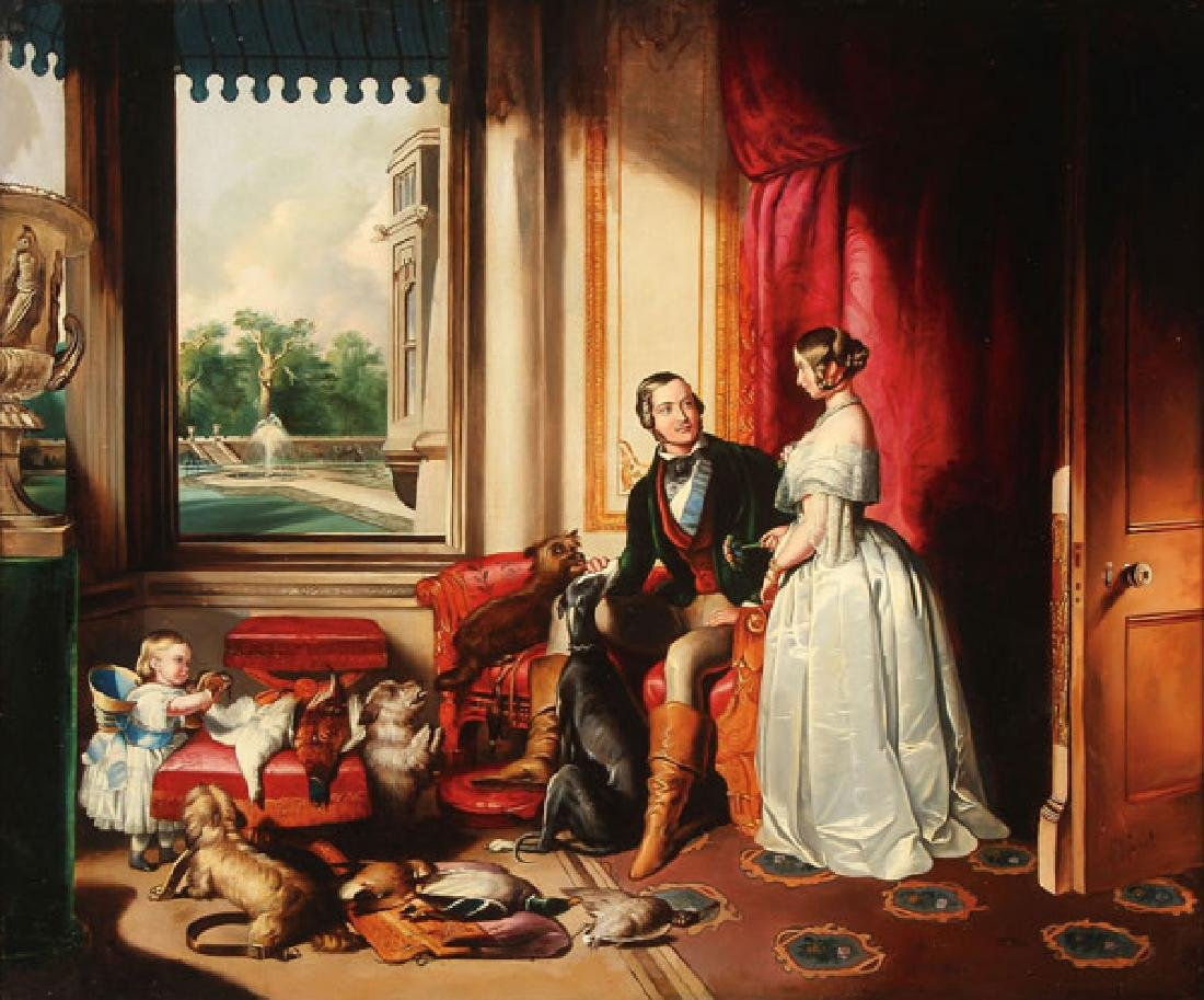 BRITISH INTERIOR SCENE, AFTER EDWIN LANDSEER