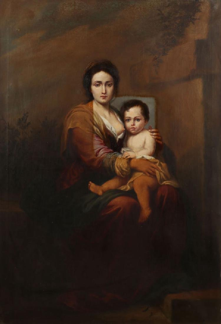 LARGE MADONNA & CHILD OIL PAINTING AFTER MURILLO,19TH C
