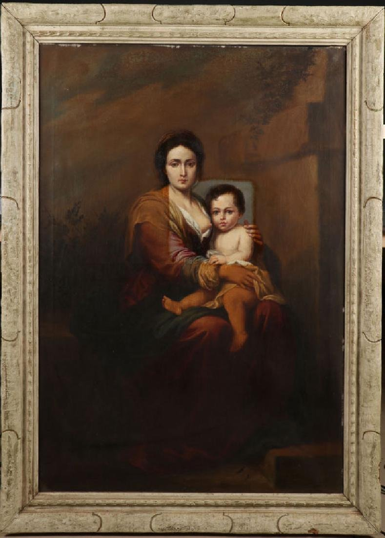 LARGE MADONNA & CHILD OIL PAINTING AFTER MURILLO,19TH C - 2