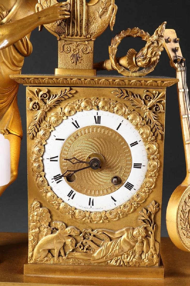 A FINE FRENCH EMPIRE GILT BRONZE MANTLE CLOCK - 4