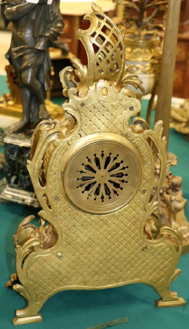 A FRENCH ROCOCO BRONZE MANTLE CLOCK, 19TH CENTURY - 4