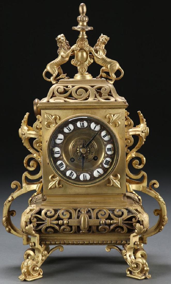 FRENCH AESTHETIC GILT BRONZE CLOCK