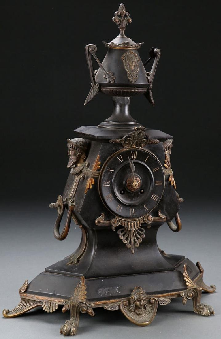 A FRENCH NEO-CLASSIC MANTLE CLOCK, 19TH CENTURY - 2