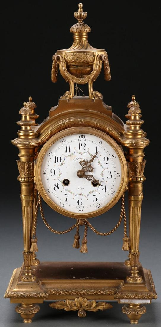 A FRENCH LOUIS XVI STYLE GILT BRONZE MANTLE CLOCK