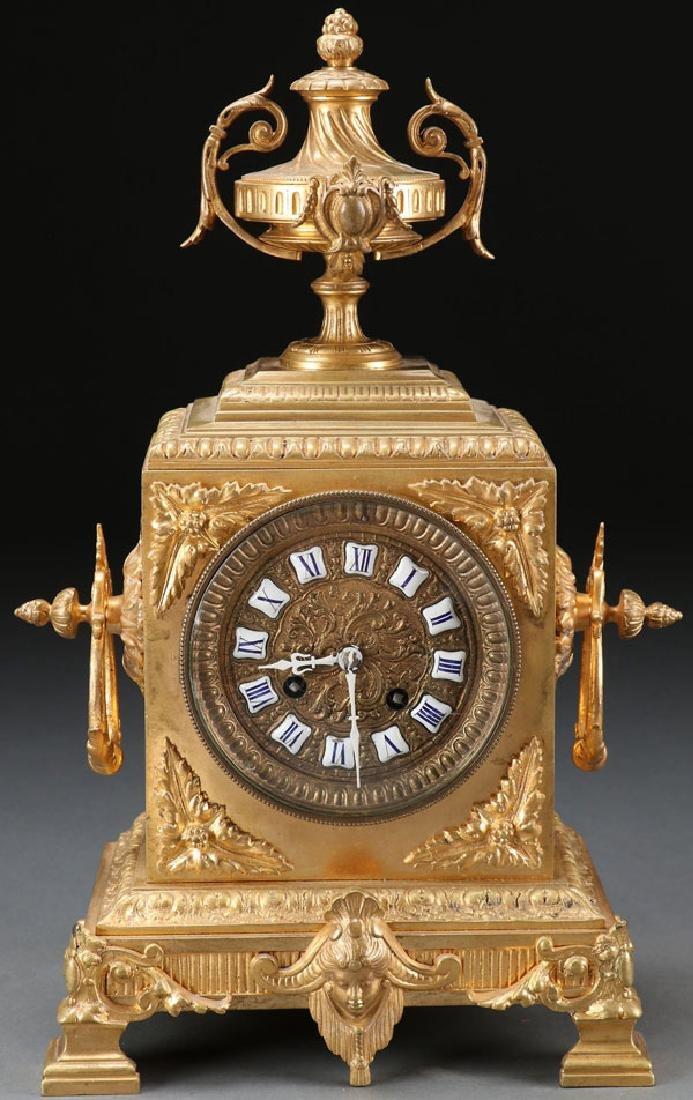 A FRENCH LOUIS XVI STYLE GILT BRONZE CLOCK