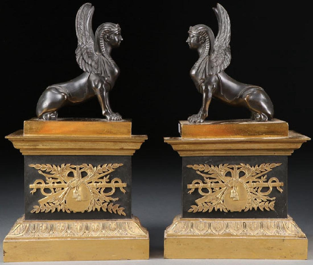 PAIR FRENCH EMPIRE PERIOD GILT BRONZE ANDIRONS