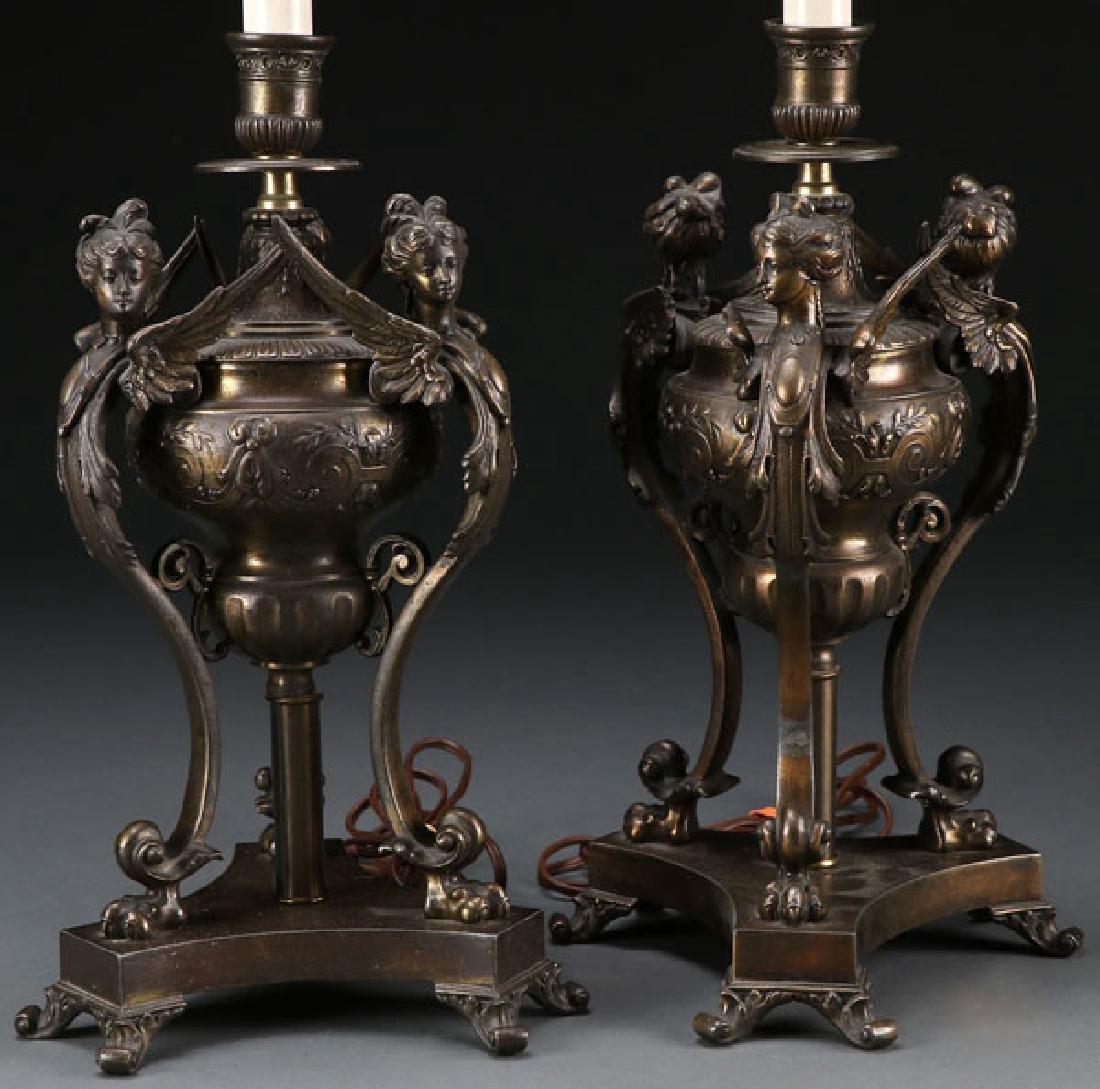 A PAIR OF RENAISSANCE REVIVAL TABLE LAMPS, 20TH C