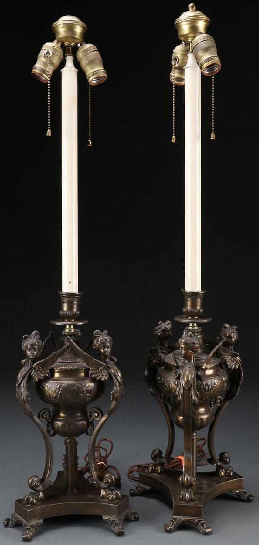 A PAIR OF RENAISSANCE REVIVAL TABLE LAMPS, 20TH C - 2