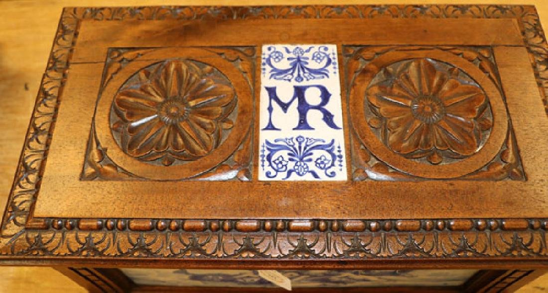 AN ITALIAN CARVED WALNUT AND MAJOLICA CASKET - 4