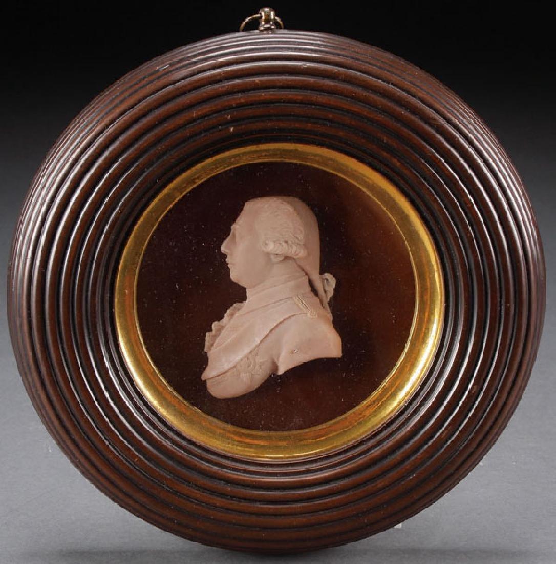 A FINE WAX CAMEO PROFILE PORTRAIT OF GEORGE III