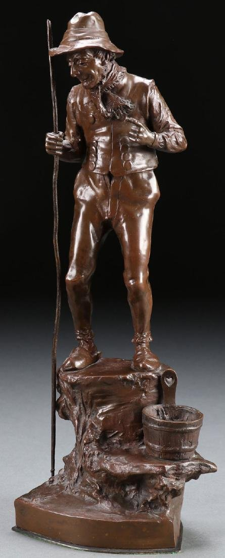 A PATINATED BRONZE FIGURE OF AN ELDERLY FISHERMAN