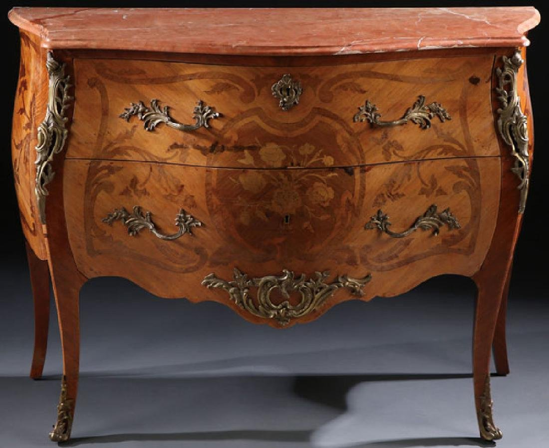 A GOOD FRENCH LOUIS XV STYLE MARQUETRY COMMODE