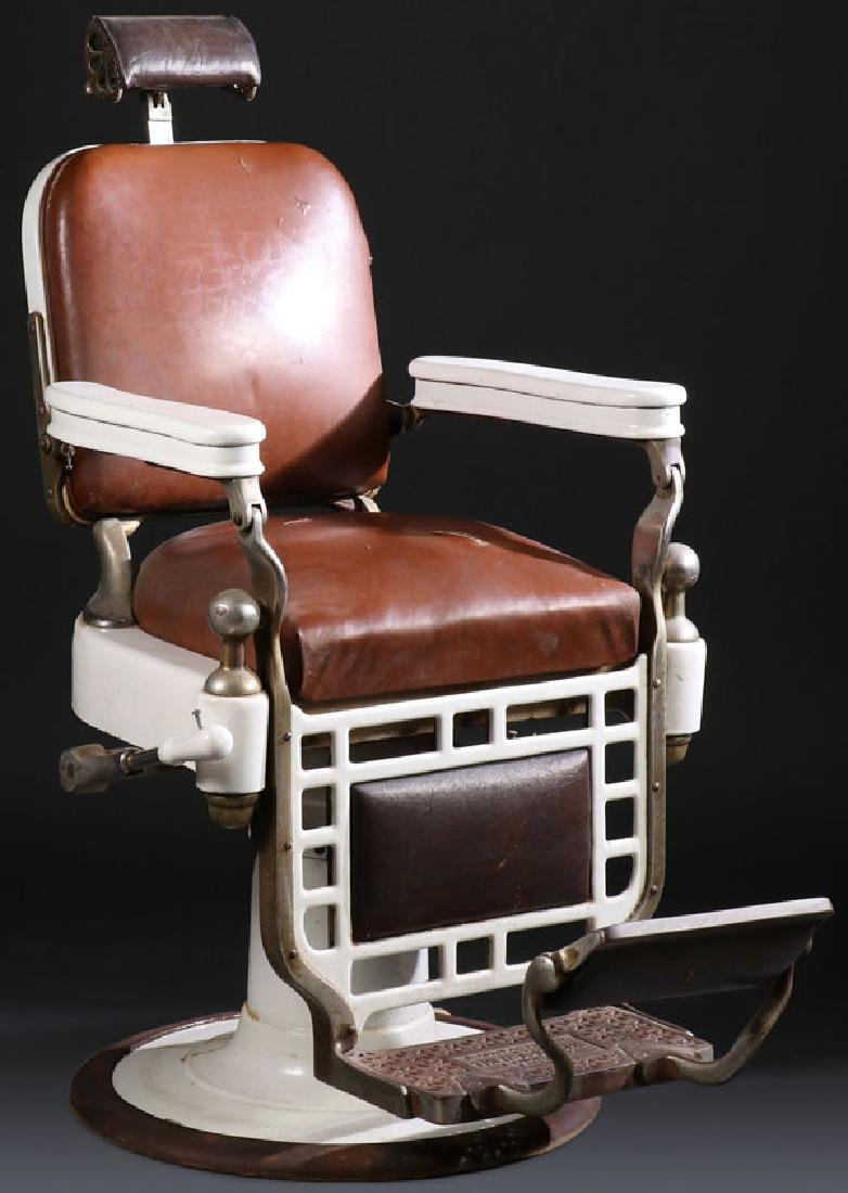 A GOOD KOCHS PORCELAIN AND NICKLE BARBERS CHAIR