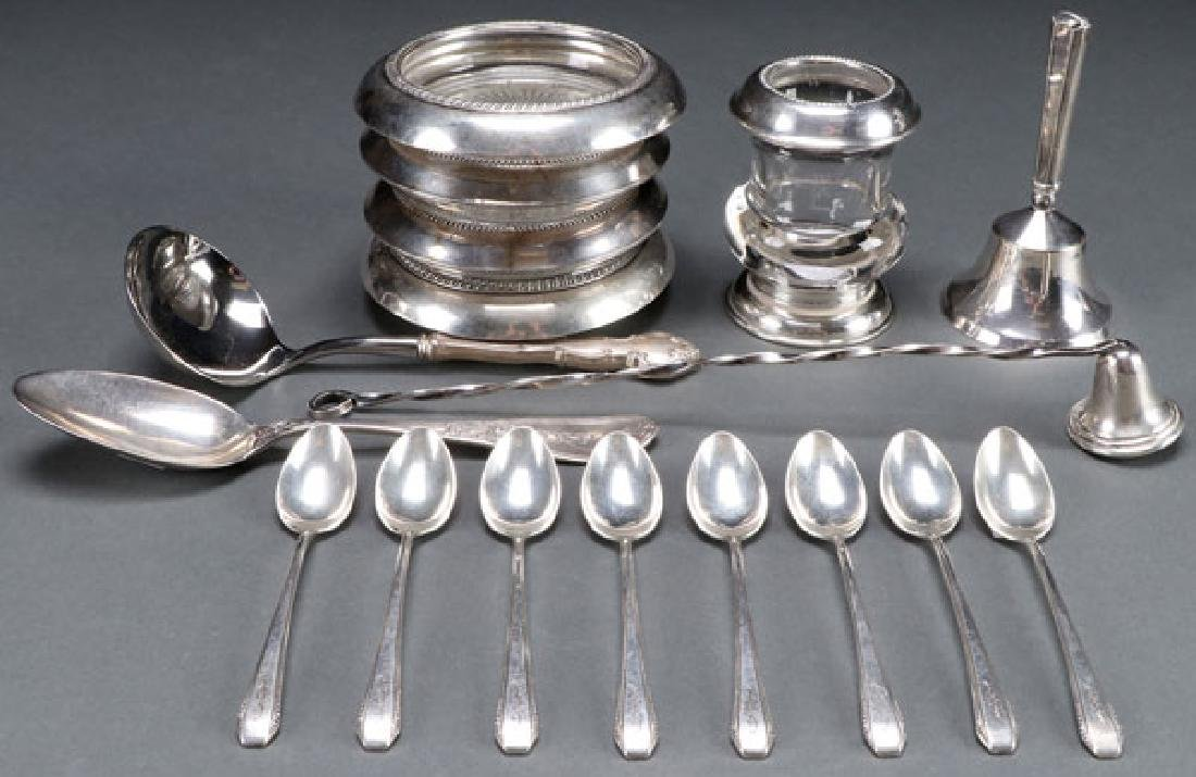 17 PC OF  STERLING SILVER TABLE ITEMS, 20TH C