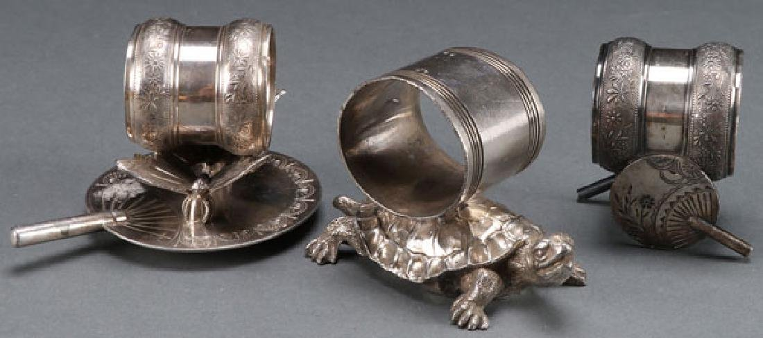3 VICTORIAN SILVERPLATE FIGURAL NAPKIN RINGS