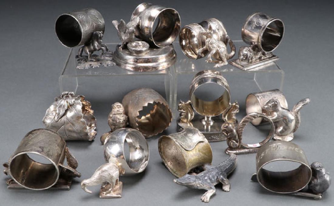 13 VICTORIAN SILVERPLATE FIGURAL NAPKIN RINGS