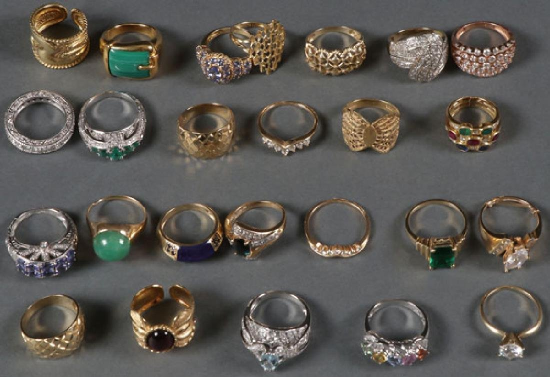 25 14KT GOLD RINGS, ALL CONTEMPORARY