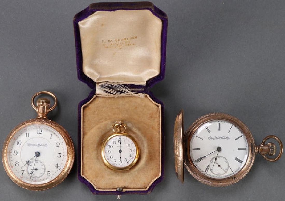 THREE GOLD OR GOLD FILLED POCKET WATCHES