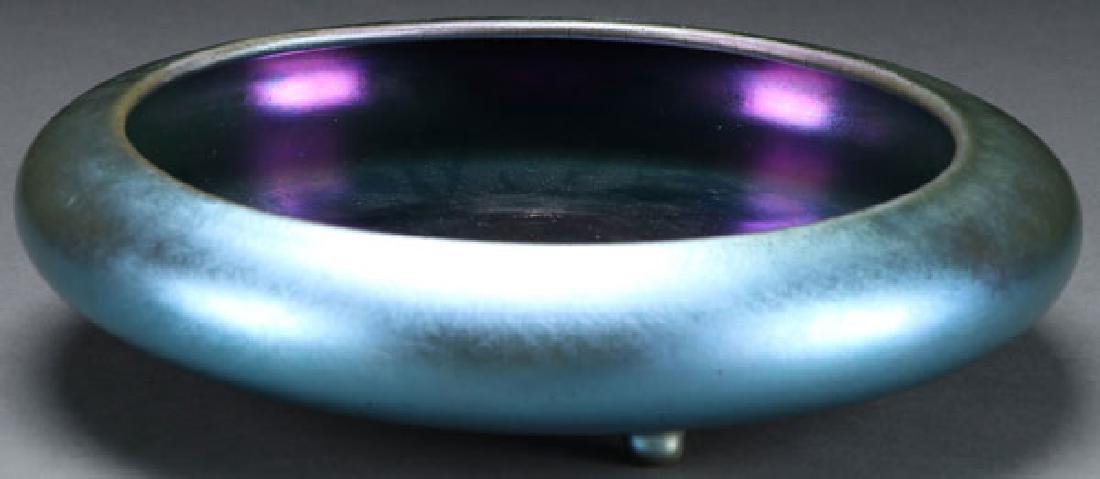 A STEUBEN BLUE AURENE ART GLASS LOW BOWL