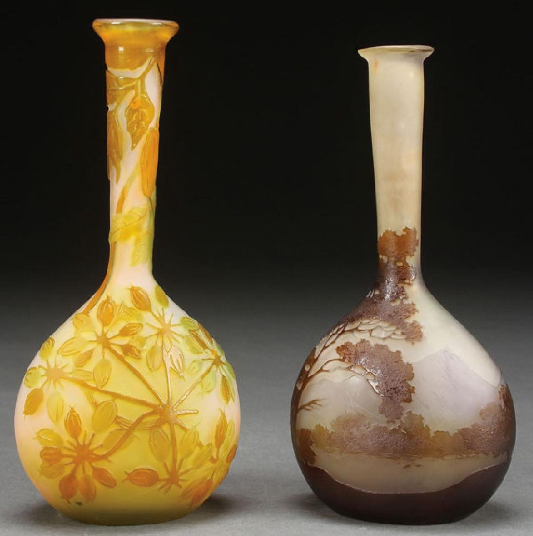 A PAIR OF GALLE FRENCH CAMEO ART GLASS VASES