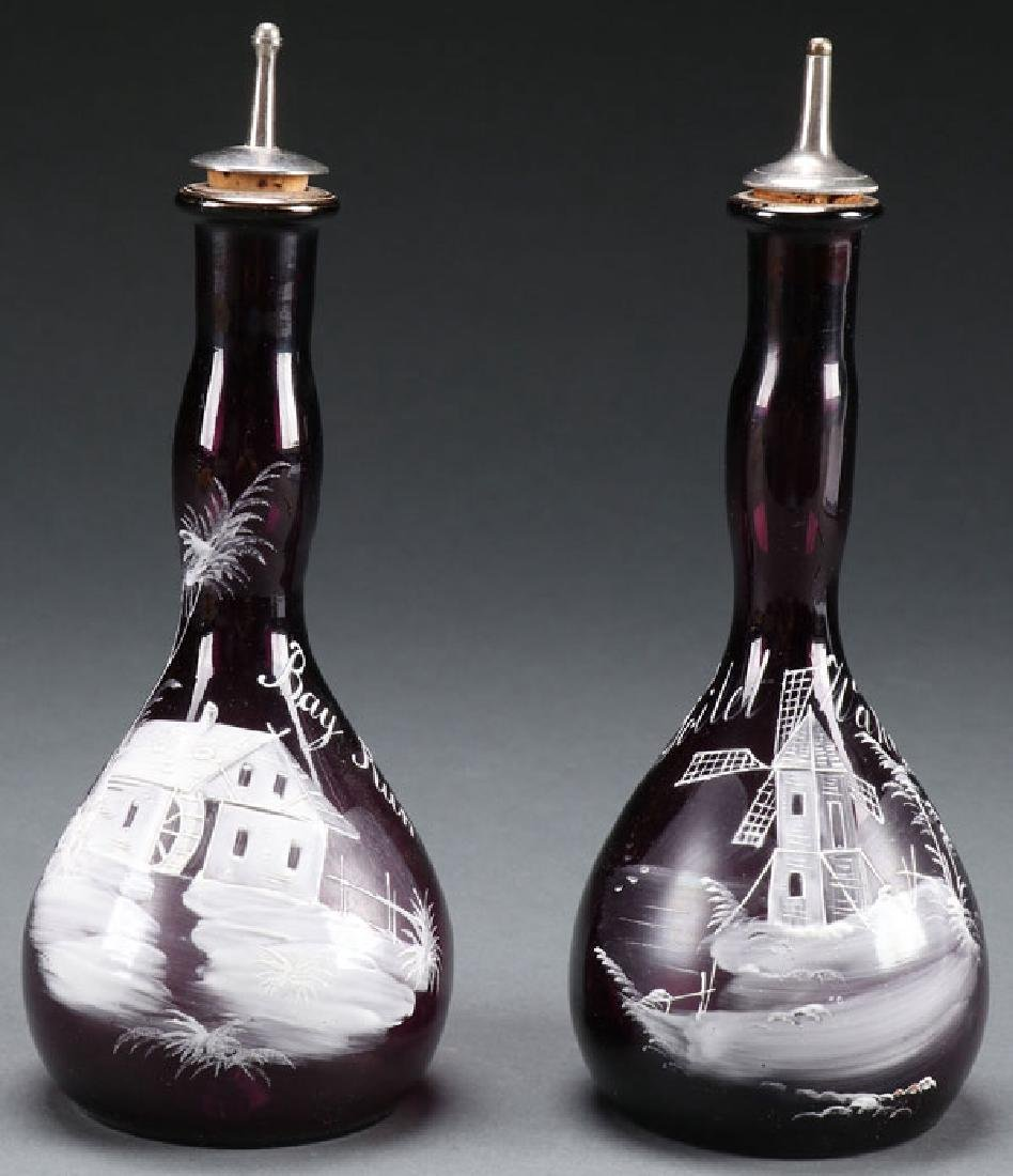 VICTORIAN ENAMELED GLASS BARBER BOTTLES