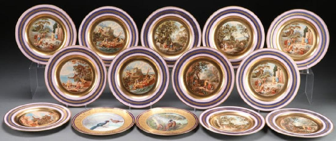 12 ROYAL VIENNA STYLE SCENIC CABINET PLATES