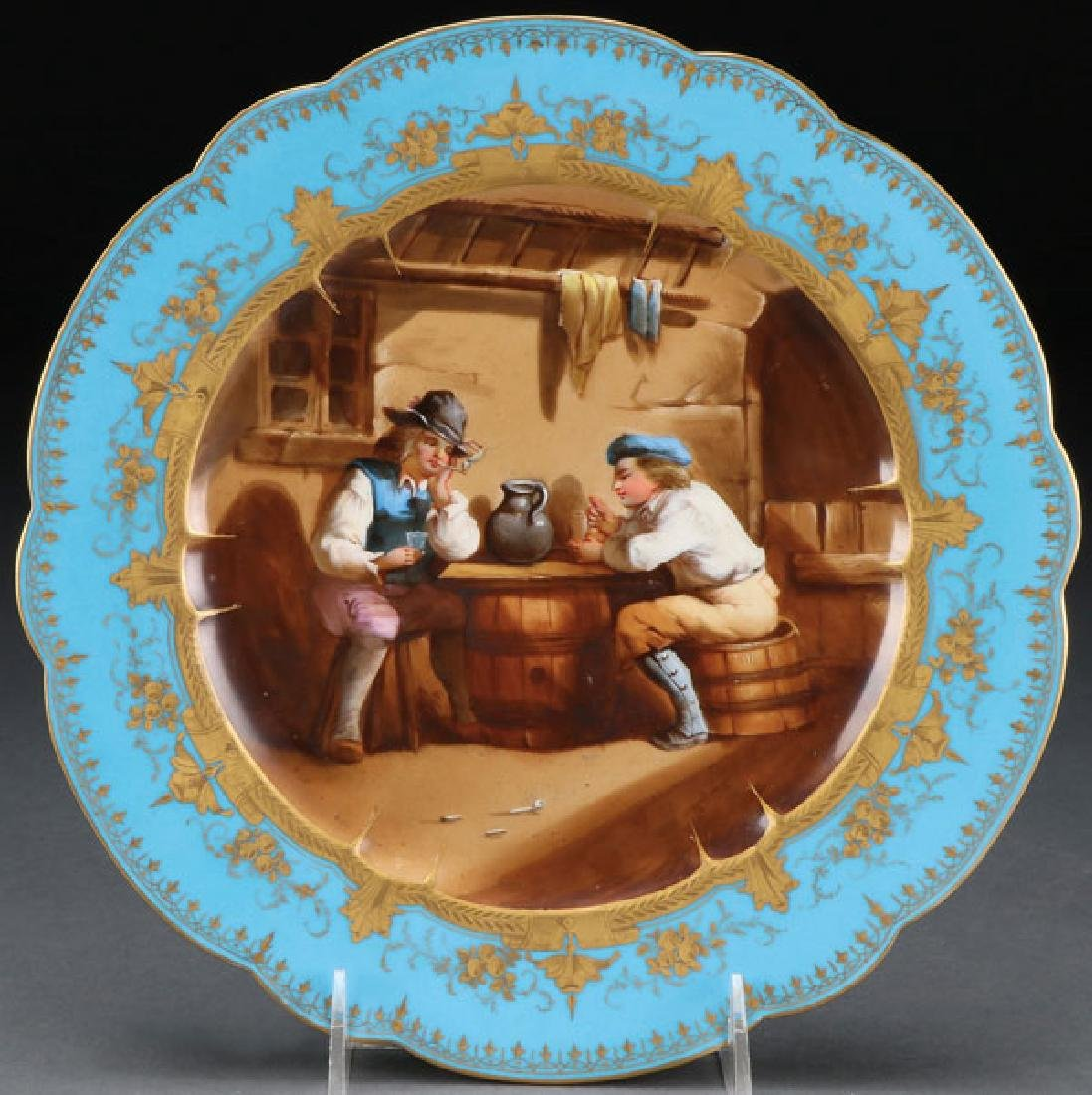 SEVRES STYLE SCENIC PORCELAIN PLATE