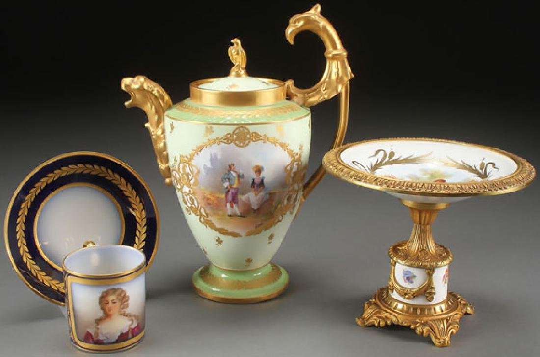 3 FRENCH SCENIC PORCELAIN GROUP