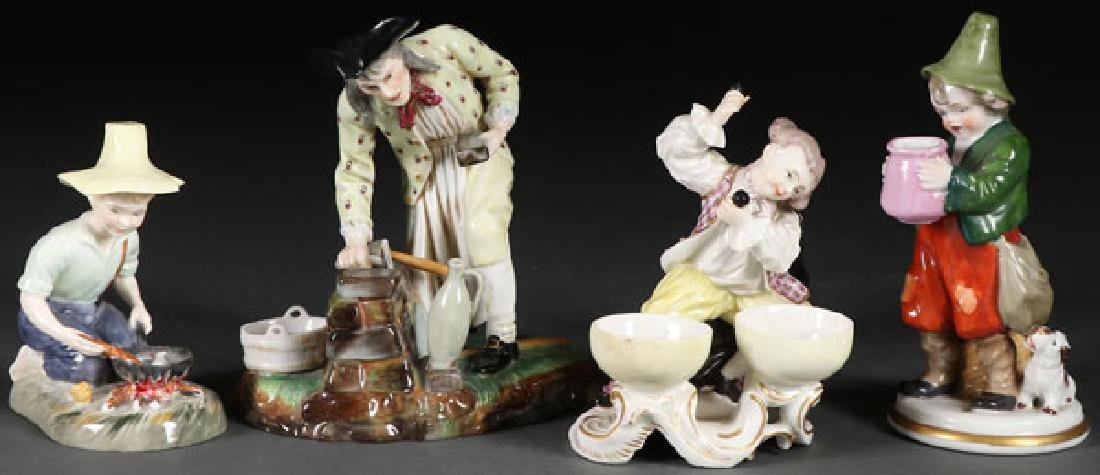 A GROUP OF FOUR DRESDEN PORCELAIN FIGURES, 20TH C