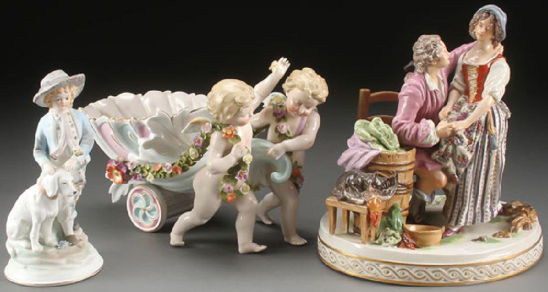 THREE PORCELAIN AND BISQUE FIGURAL GROUPS, 20TH C
