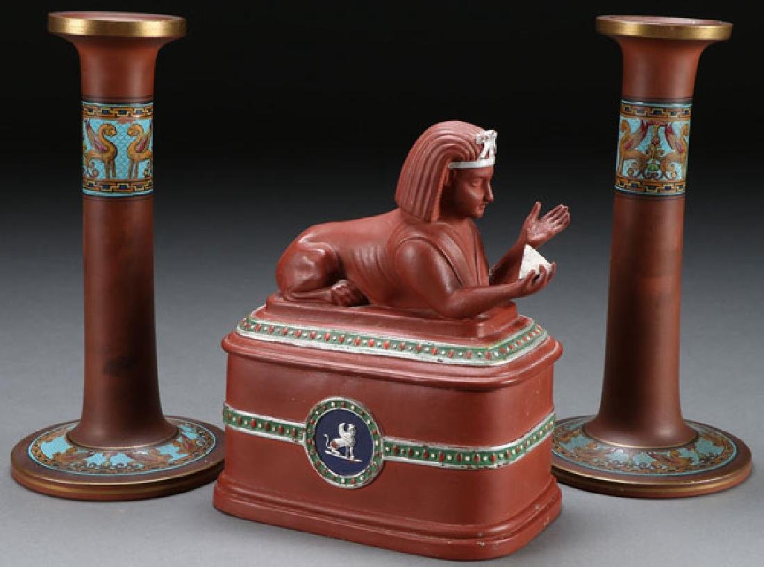 A THREE PIECE GROUP OF EGYPTIAN REVIVAL REDWARE