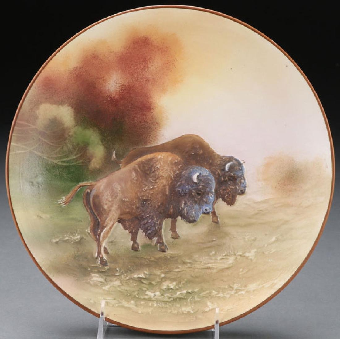 A HAND PAINTED NIPPON MOLDED BUFFALO PLAQUE